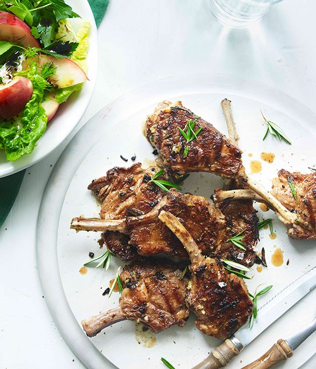 Grilled lamb and fennel with peach and herb salad :: Gourmet Traveller