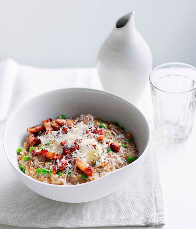 Farro with pancetta, peas and mascarpone :: Gourmet Traveller