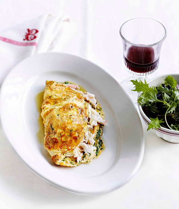 Crab and herb omelette :: Gourmet Traveller