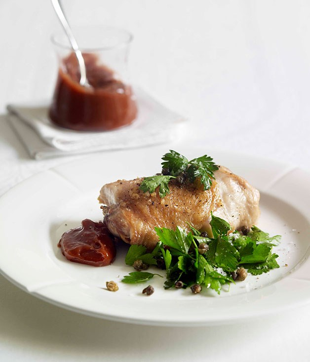 Roast chicken with quince alioli, parsley and crisp caper ...