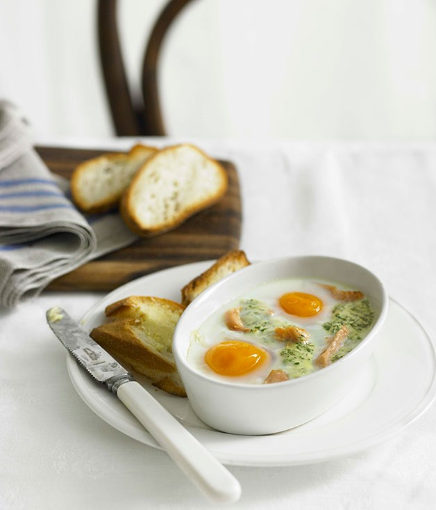 Eggs en cocotte with smoked trout :: Gourmet Traveller