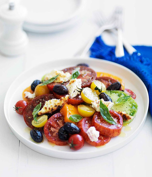 March: heirloom tomato salad with baked ricotta and olives :: Gourmet ...