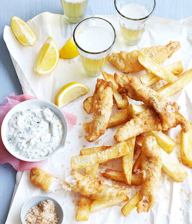 Beer battered flathead with salt and vinegar chips for Beer battered fish and chips