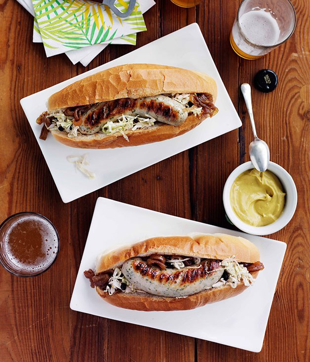 Weisswurst with beer-braised onion and soused cabbage :: Gourmet ...