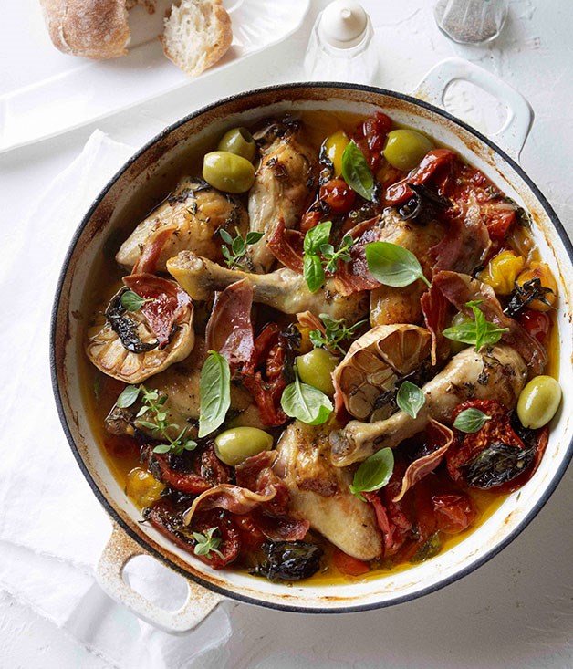 Tomato and pancetta roast chicken with green olives :: Gourmet ...