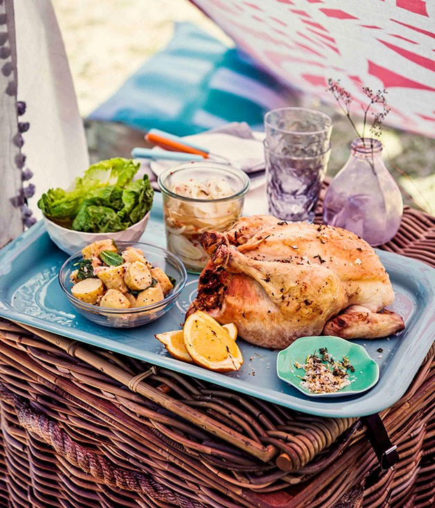 Roast chicken with thyme-lemon stuffing and pickled fennel ...