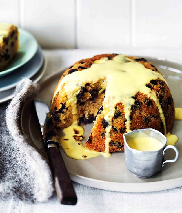 Chocolate rum and raisin steamed pudding :: Gourmet Traveller