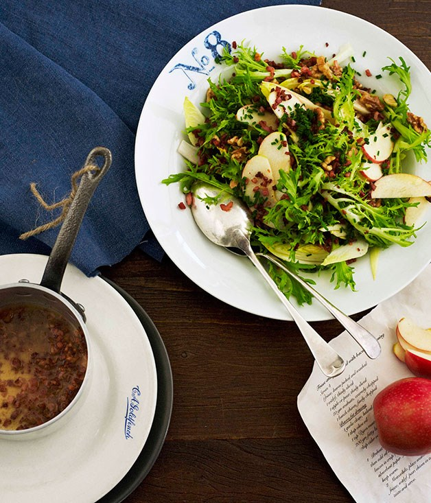 Frisée, witlof and apple salad with bacon bits and bacon fat dressing ...