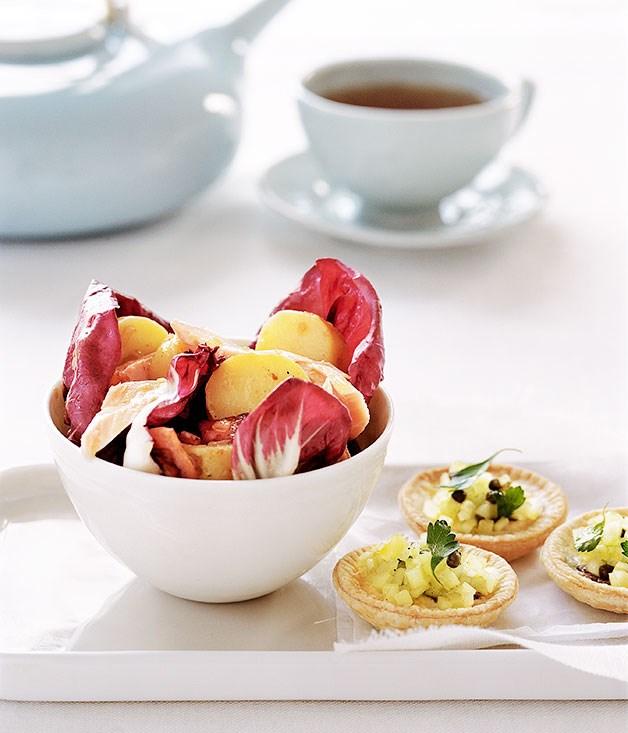 Calamari With Warm Potato-Basil Salad Recipes — Dishmaps