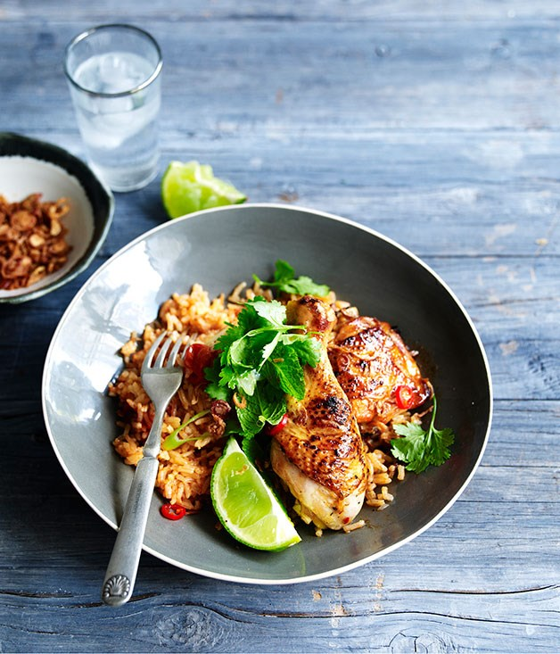 Grilled lemongrass chicken with tomato rice :: Gourmet Traveller