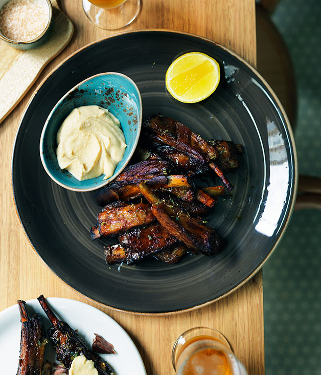 Slow-roasted lamb spare ribs with thyme honey and ouzo ...