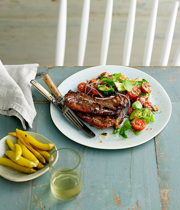 Rack Of Lamb With Kale Salad And Potatoes additionally Pork chops bbq as well Sumac And Mint Grilled Lamb Chops With Quinoa Fattoush furthermore 22956 further Topside. on lamb shoulder chops recipe