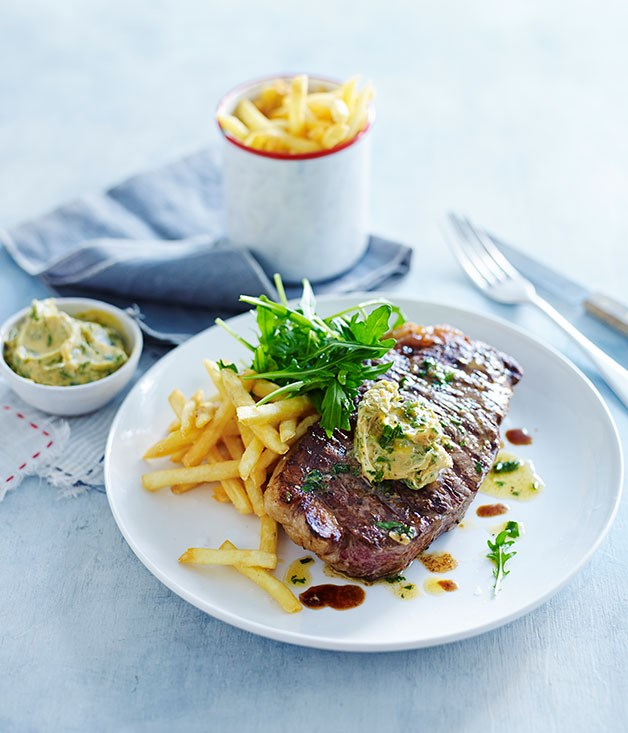 Char-grilled sirloin steak with garlic butter recipe | French recipe ...
