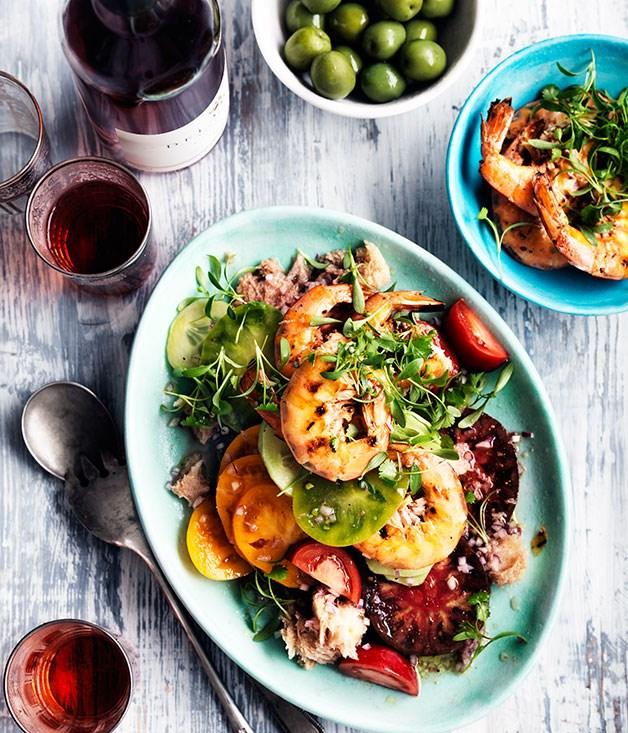 Barbecued Prawn Panzanella Salad Recipe Gourmet Traveller Wine Recipe Gourmet Traveller