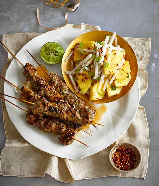 Jerk pork skewers with pineapple and jicama chopped salad recipe ...