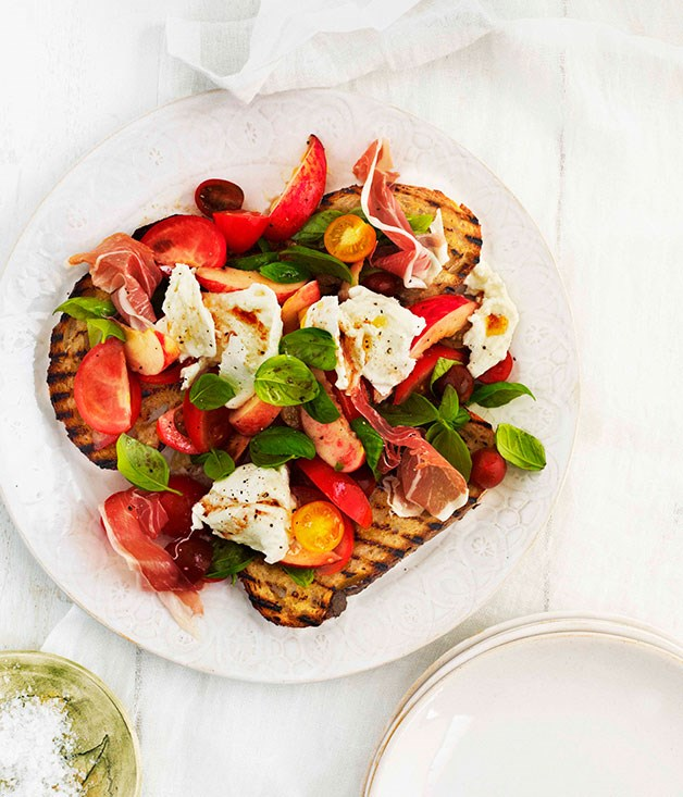 Tomato, Peach And Basil Salad Recipe — Dishmaps
