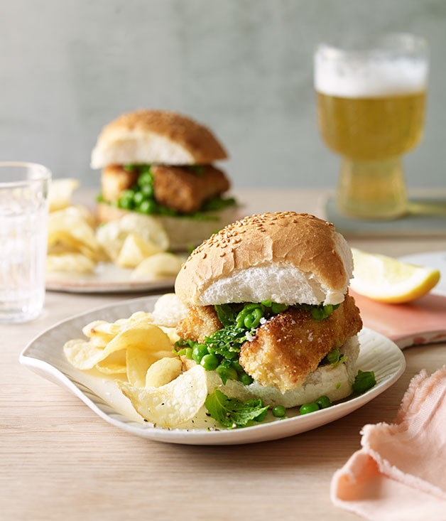 Fish finger and crushed pea rolls recipe gourmet traveller for Gourmet fish recipes