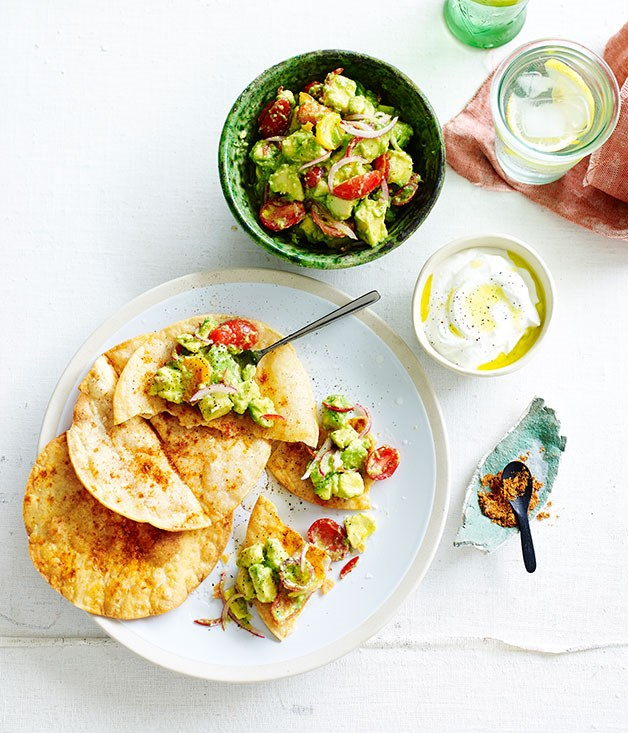 Crushed avocado, chilli and lime with crunchy tortillas recipe | Fast ...