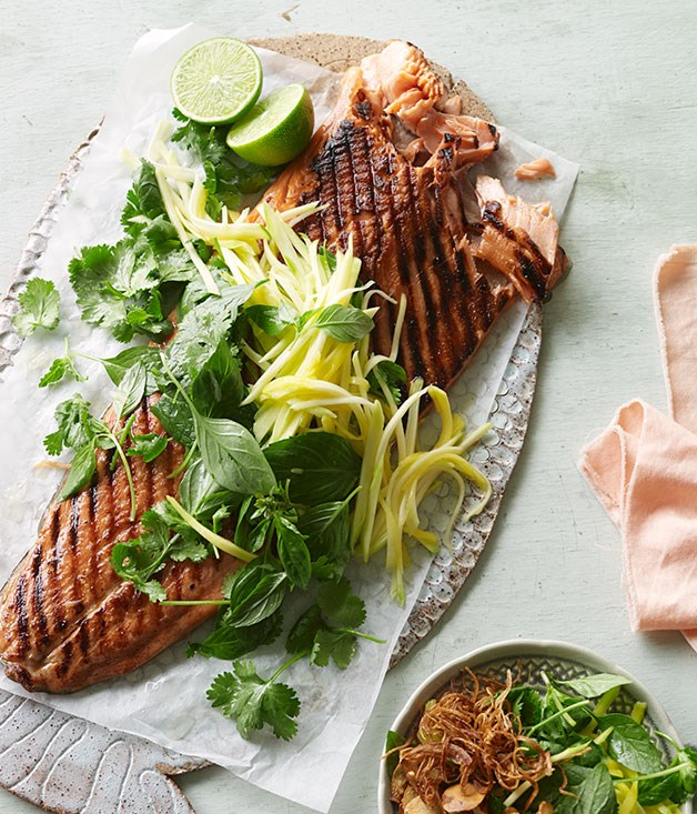 Barbecued ocean trout with green mango and shallot salad | Fast ...