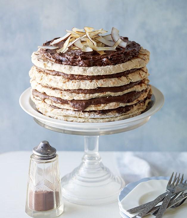 Choc-coconut macaroon cake recipe | Cake recipe :: Gourmet Traveller