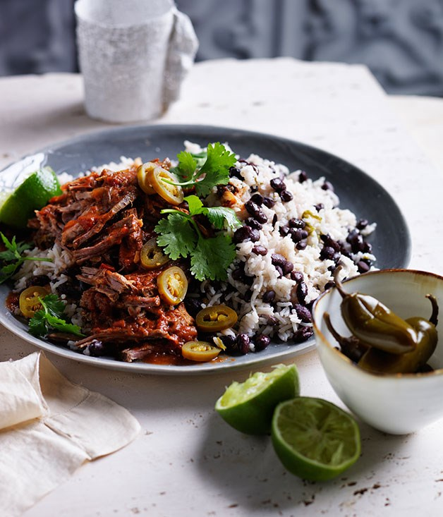 Cuban black beans and rice with pulled beef recipe :: Gourmet ...