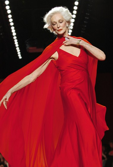 Dell'Orefice stunned on the catwalk at the annual Red Dress Fashion Show, held in New York City, during 2005.