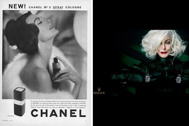 Dell'Orefice has appeared in many major campaigns – including as the face of Chanel No. 5. during the 1950s (left) and, most recently, as the face of Rolex (right).