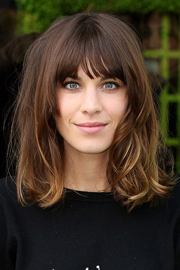 "<strong>The long bob</strong>: ""For long faces [like Alexa Chung's] messy bangs look hot with a long bob."""