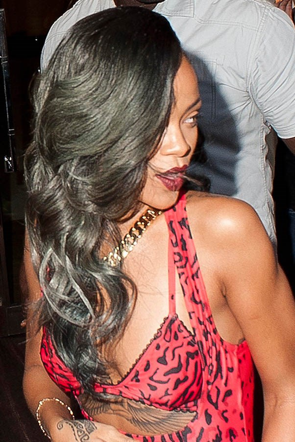 Rihanna's take on the ombre: grey highlights in London, July 2013.