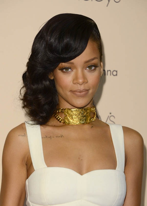 """Side-sweep at the launch of """"Nude by Rihanna"""", December 2012."""
