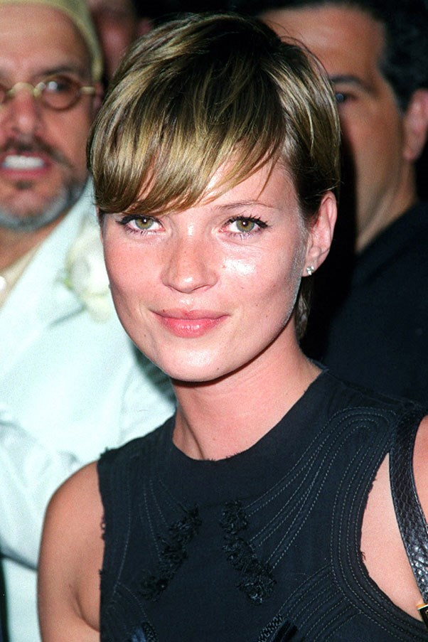 """<strong>Kate Moss</strong> <br><br>The """"anti-supermodel"""" of the 90's, Moss's pixie-cut was a breath of fresh hair in 2001."""