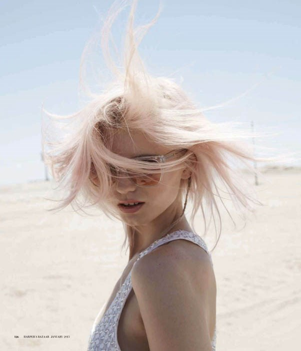 By 2013, Kershaw's platinum blonde hair was fairy-floss tinged and chin-length, as seen in Harper's Bazaar's February 2013 issue.