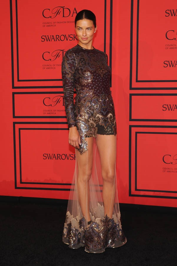 <strong>Adriana Lima</strong> <br><br><strong>What she earned: </strong>$6 million <br><br><strong>How she earned it: </strong>Lima earns most of her millions from being a Victoria's Secret Angel. She also models for other designers, including Donna Karan and Mavi Jeans. <br><br><em>Pictured here at the 2013 CFDA Fashion Awards- Underwritten By Swarovski, wearing a sheer dress by Givenchy. </em>