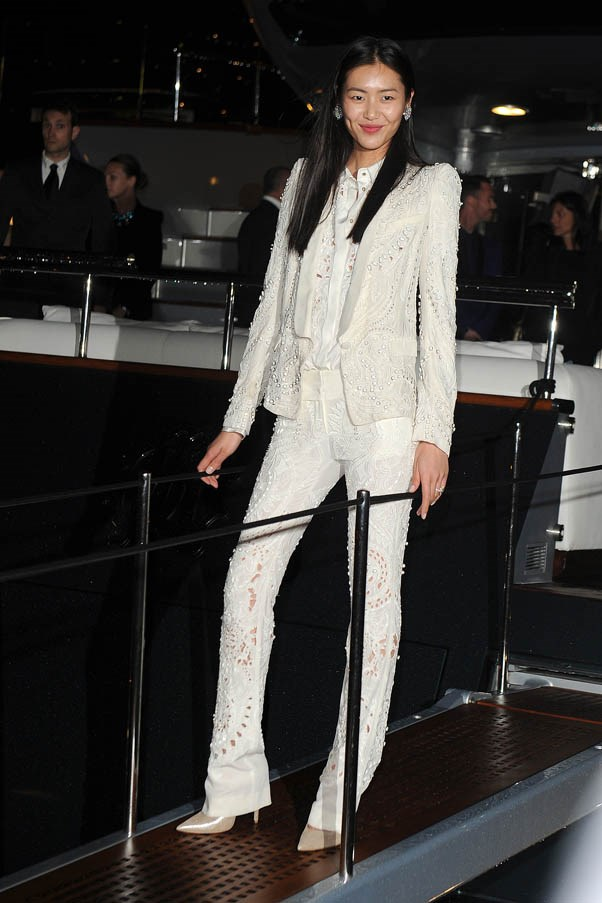 Here at Roberto Cavalli's Party during The 66th Annual Cannes Film Festival, looking chic in all white.