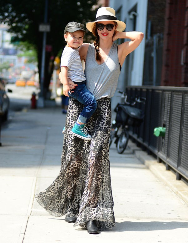 The stylish mother with Flynn in New York, June 2013.