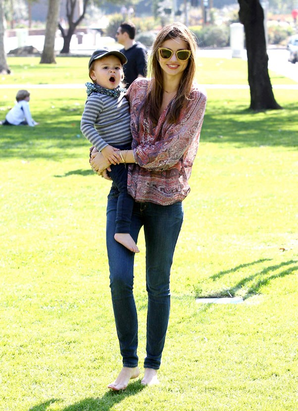 Relaxing at an LA park with Flynn in February 2013.