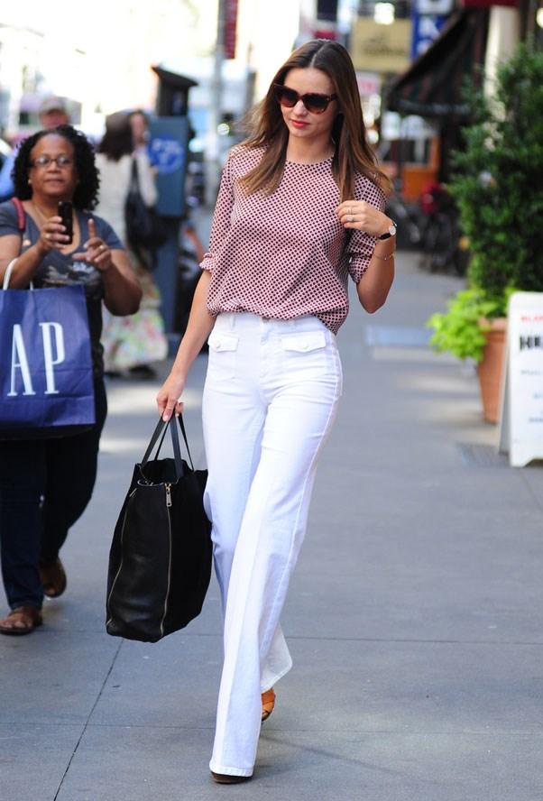 Using white denim as a summer staple in New York, June 2012.