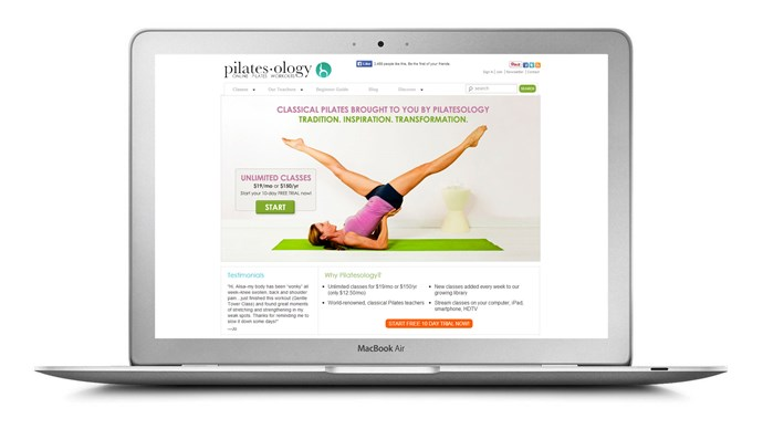 """<a href=""""http://pilatesology.com/"""">Pilatesology</a> This new website that allows you to take Pilates mat and apparatus classes from home, offering unlimited, HD quality streaming video classes for a $19 monthly membership (they also offer a free 10 day trial). <br>New classes are added every week and the teachers are experts in the Joseph Pilates method."""