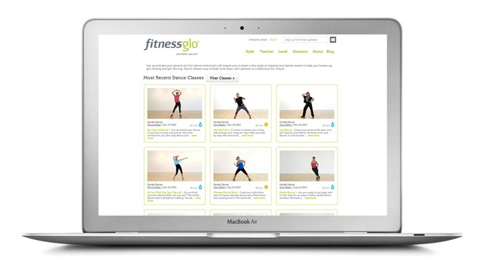 """<a href=""""http://www.fitnessglo.com/"""">Fitness Glo</a> Designed as an alternative, simplified option to the often fast-paced group classes in the gym, Fitness Glo covers everything from yoga and pilates to cardio workouts - but its dance cardio programs are particularly popular. <br>Fitness Glo offer free 15 day trials, customised 8-week program as well as individual classes, which vary from 5 to 45 minute workouts."""