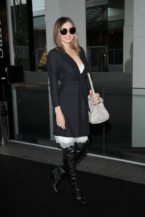 Leaving the Sonia Rykiel show during Paris fashion week on February 28, 2014.