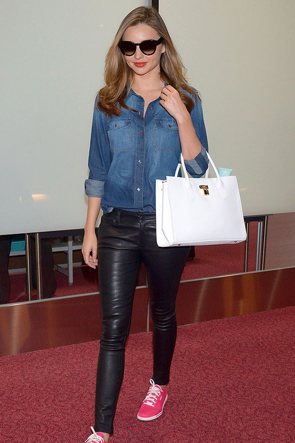 Arriving in Tokyo on the 1 April, looking relaxed in leather and denim.