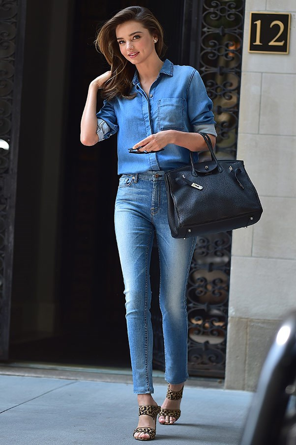 A double denim win while leaving her NYC apartment on July 21.