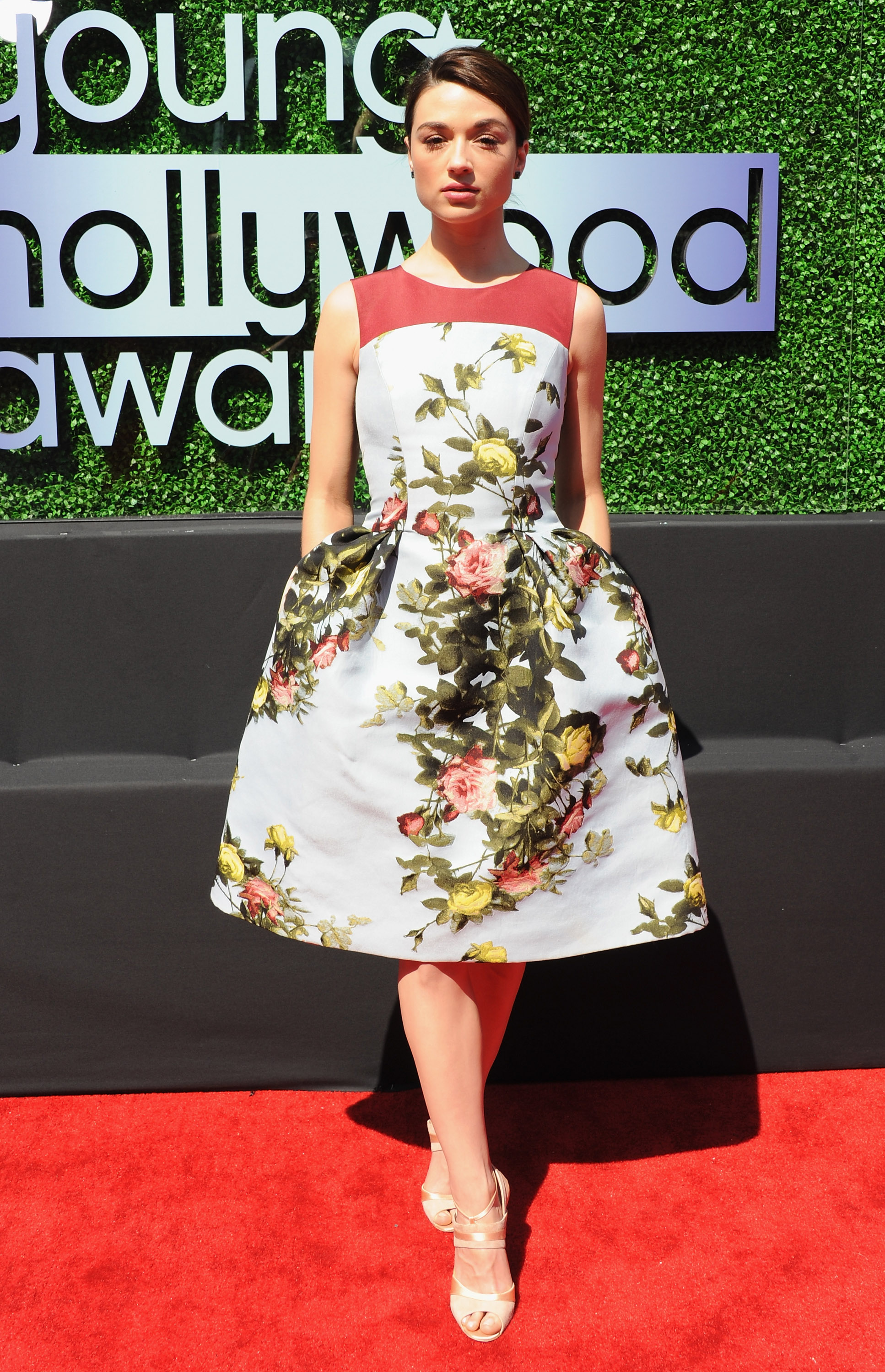 Crystal Reed floral dress