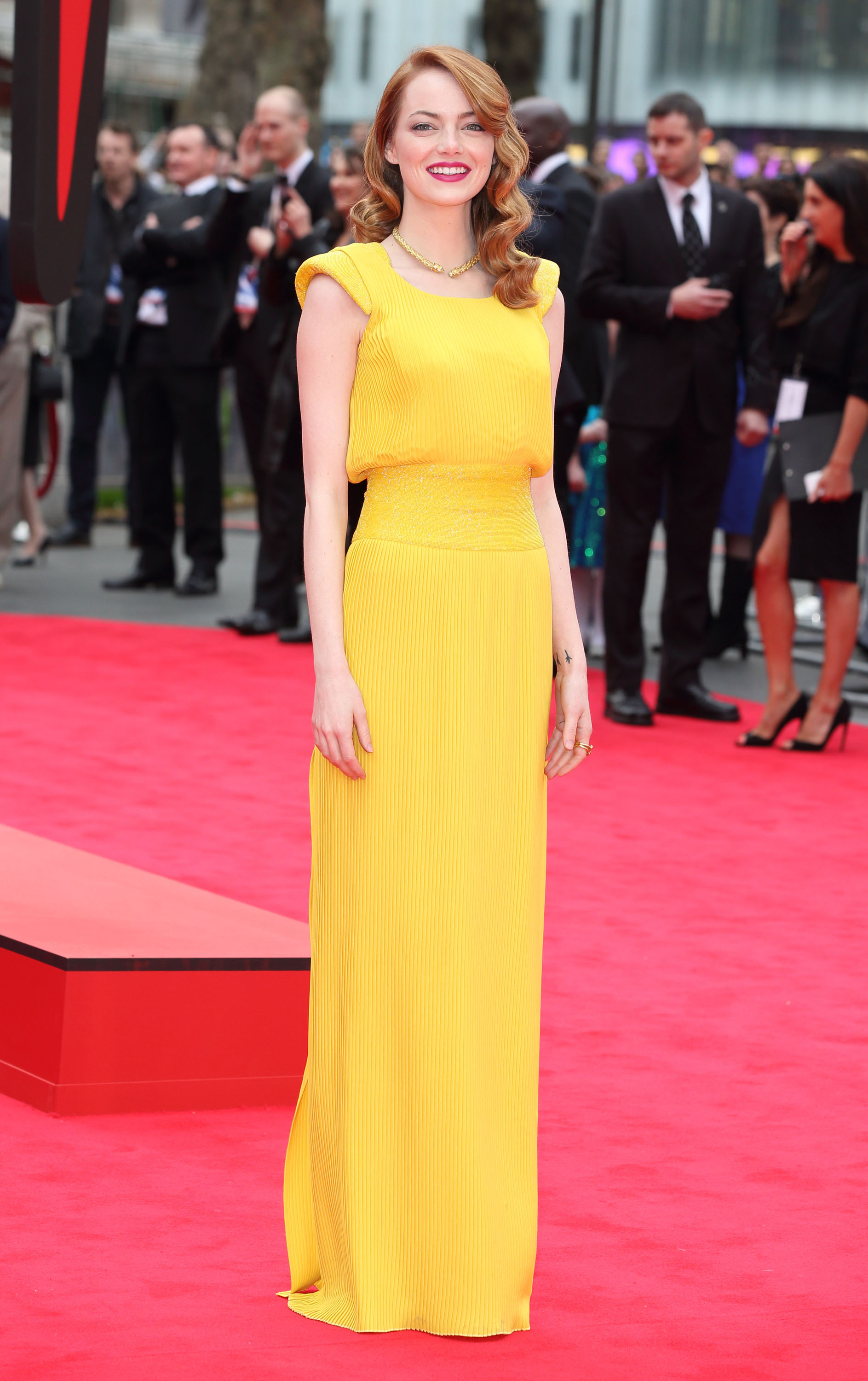 Emma Stone Spider-Man 2 red carpet style
