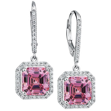 Pink & White Swarovski Zirconia Earrings