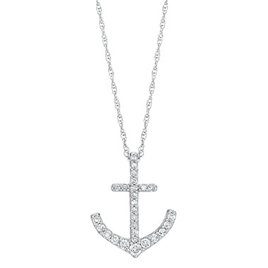 Diamond Anchor Pendant with chain