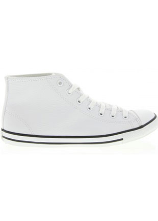 Dainty Leather High Top Sneakers in White