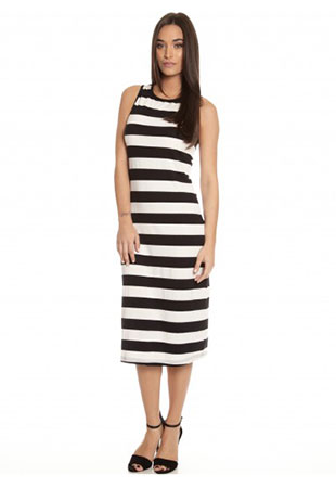Midi Tube Dress in Black & White Stripe