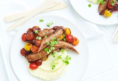 Sausages with fresh tomato relish