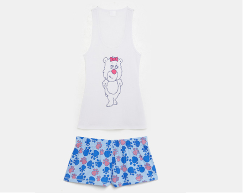 Blue/pink paw print short matched with bear tank